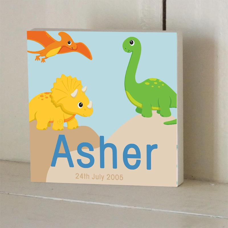 Personalised Dinosaur Wooden Name Plaque With Birth