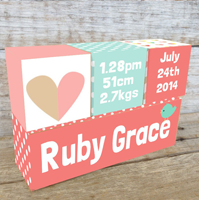 Personalised Wooden Birth Block Sets