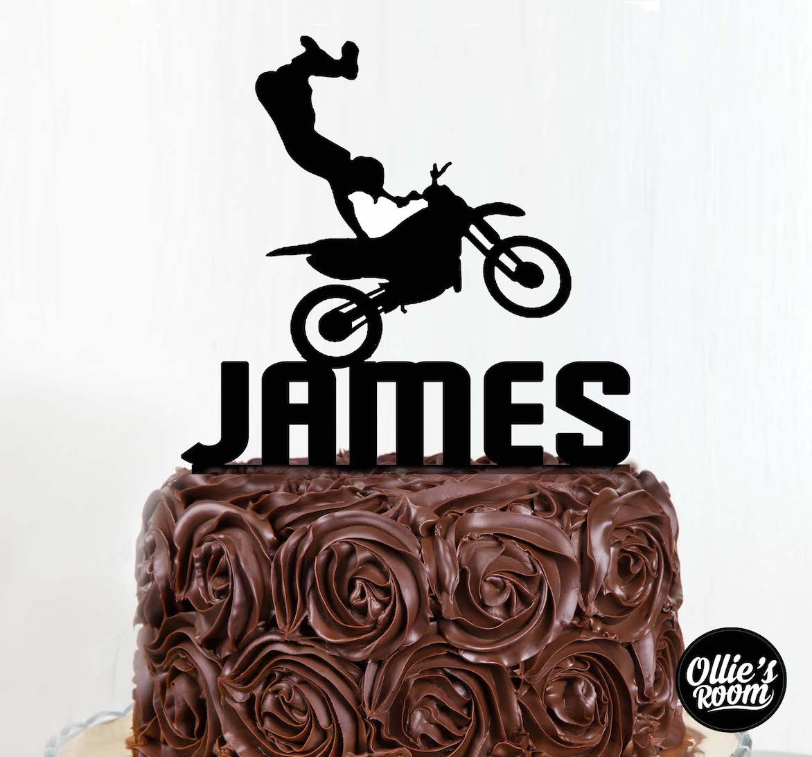 Personalised Motorbike Birthday Cake Topper With Name