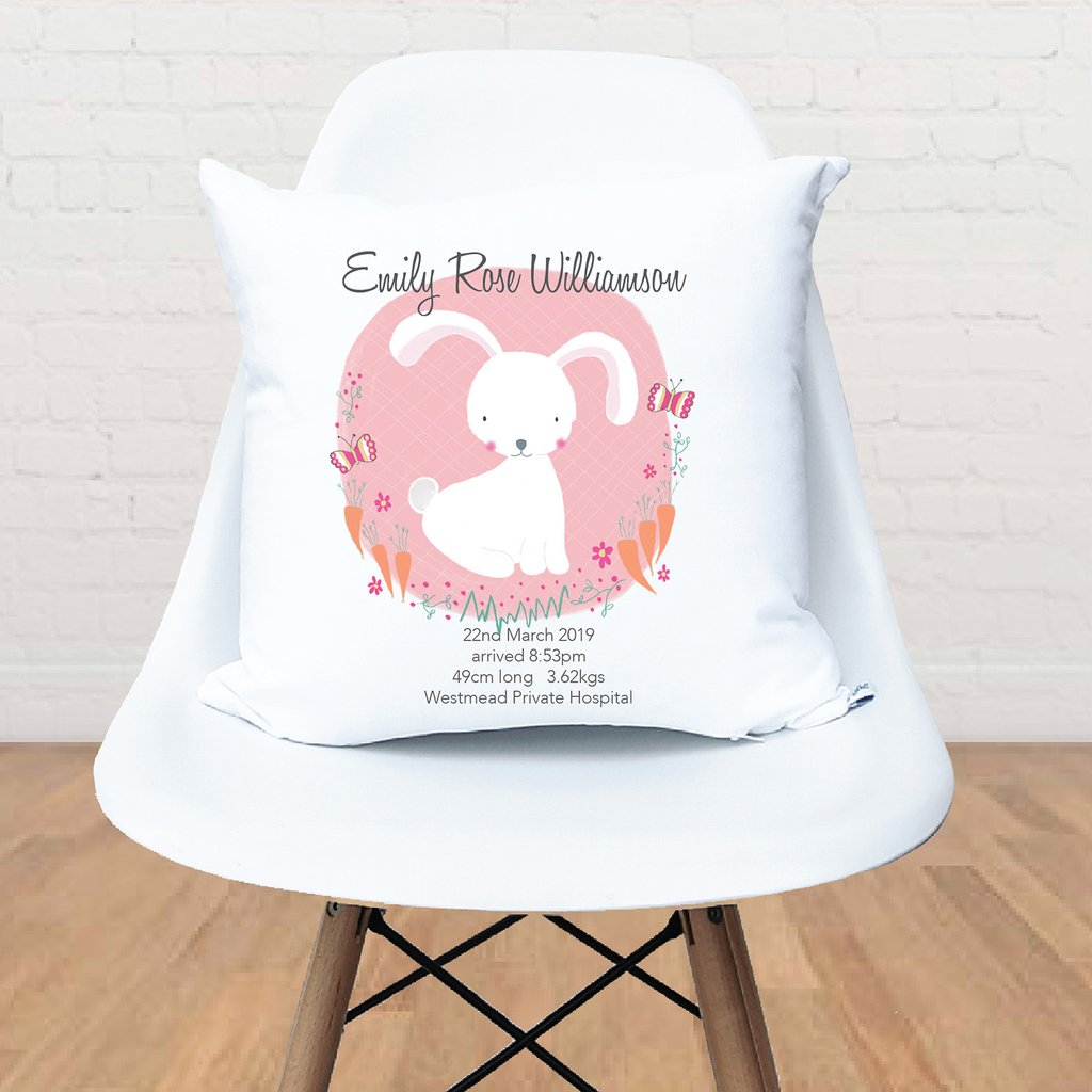 White Bunny Birth Personalised Cushion