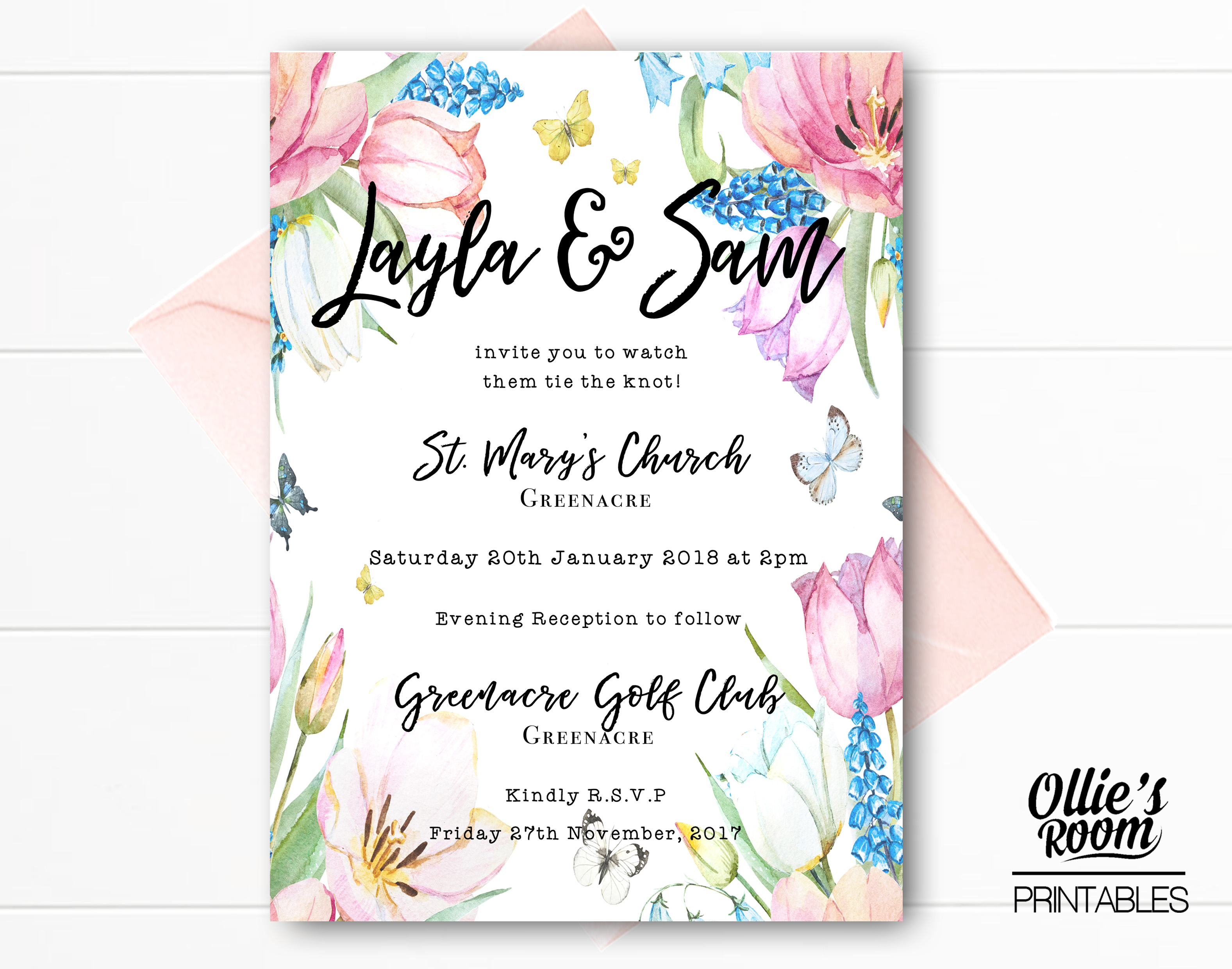 Personalised Watercolour Floral Butterfly Wedding Invitation