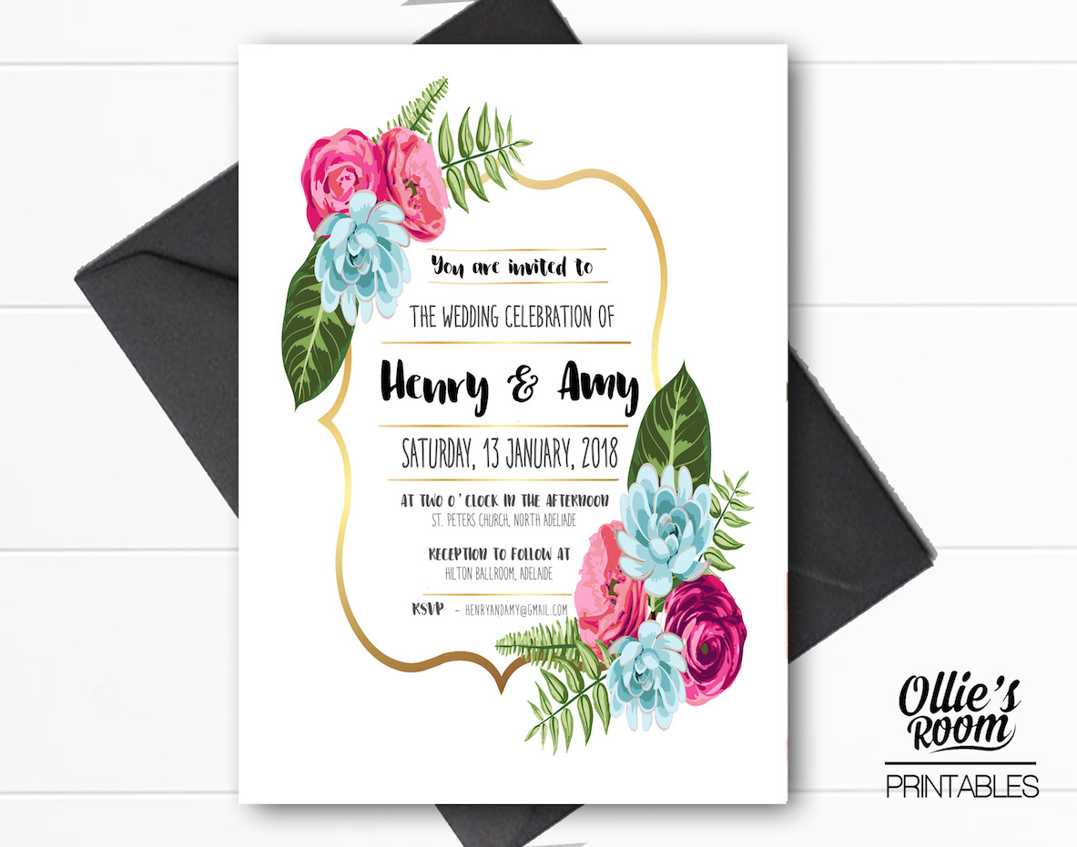 photograph relating to Printable Wreath called Gold Floral Wreath Wedding day Invitation, Nation Design Marriage ceremony Invitation, Wedding ceremony Printable, Customised Wedding day Invitation