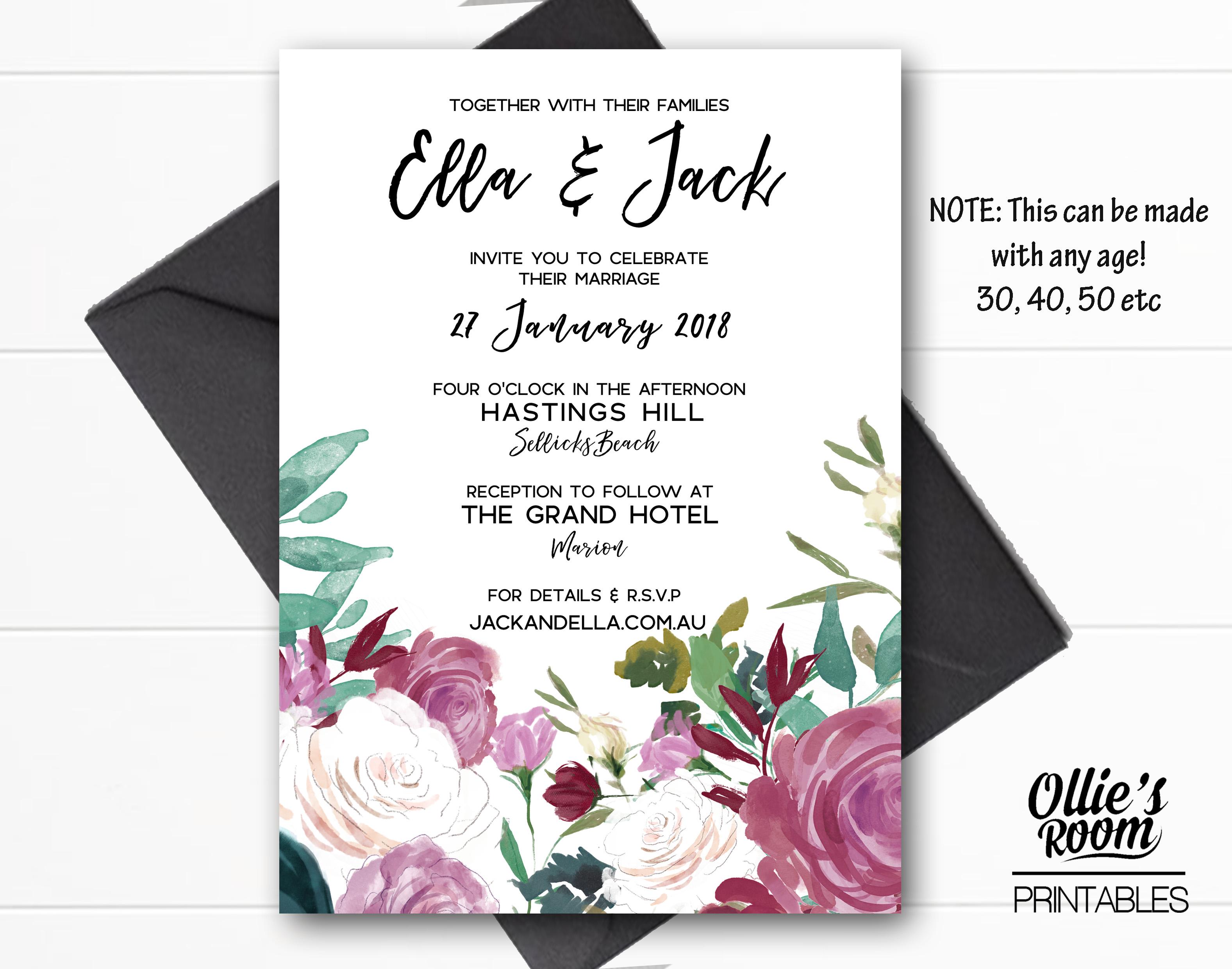 Floral Wedding Invitations.Peachy Floral Wedding Invitation Country Style Wedding Invitation