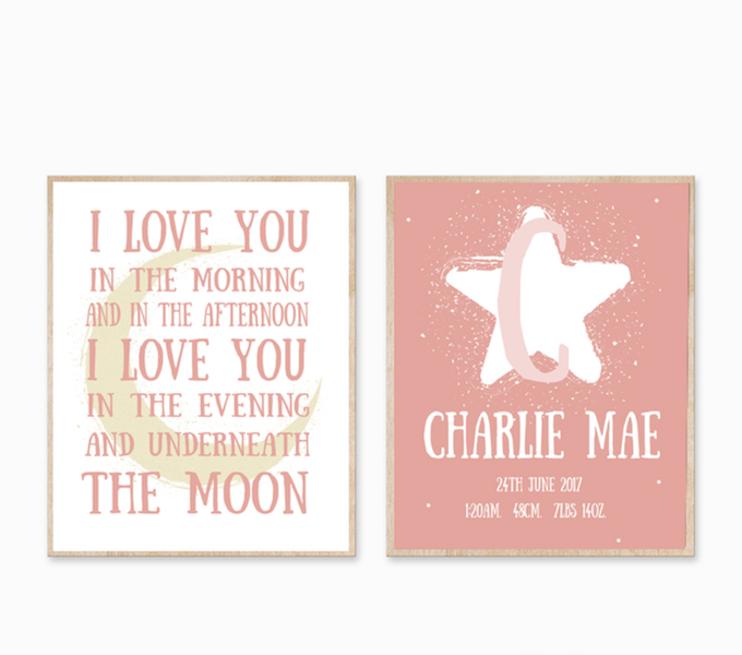 Personalised Birth Print - Love You To The Moon
