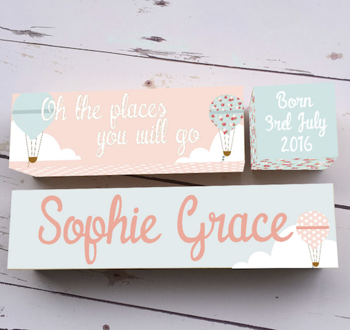 Personalised Birth Block Name Baby Decor Girl Oh the Places