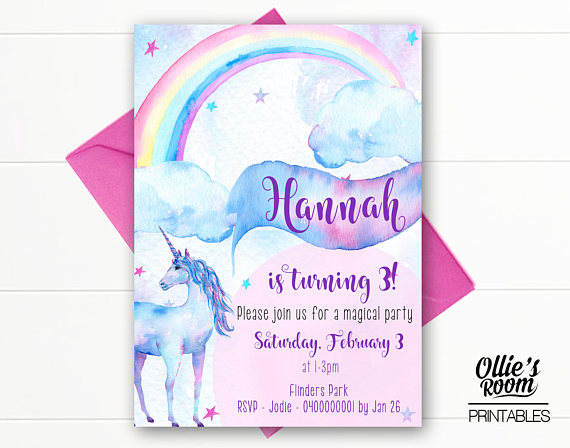 Unicorn Birthday Invitation -Watercolour Unicorn