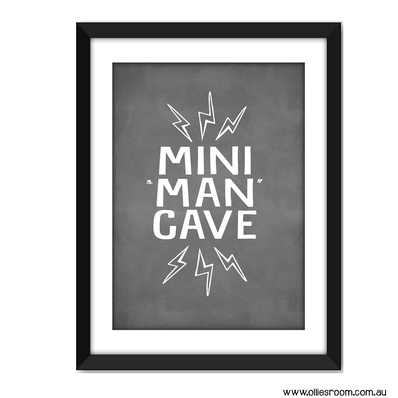 Mini Man Cave : Wall art young wild free typography poster nursery