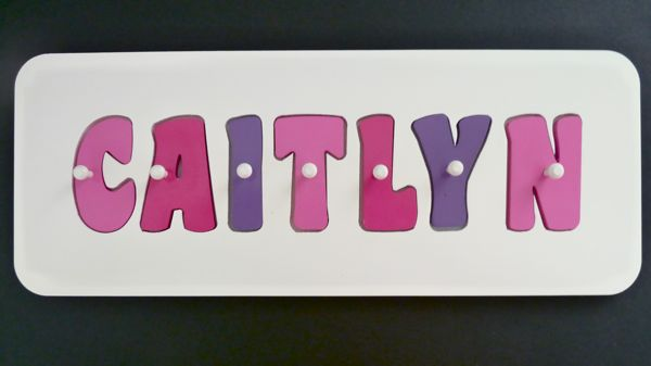 Personalised Wooden Jigsaw Puzzle  - Pink, Hot Pink and Purple