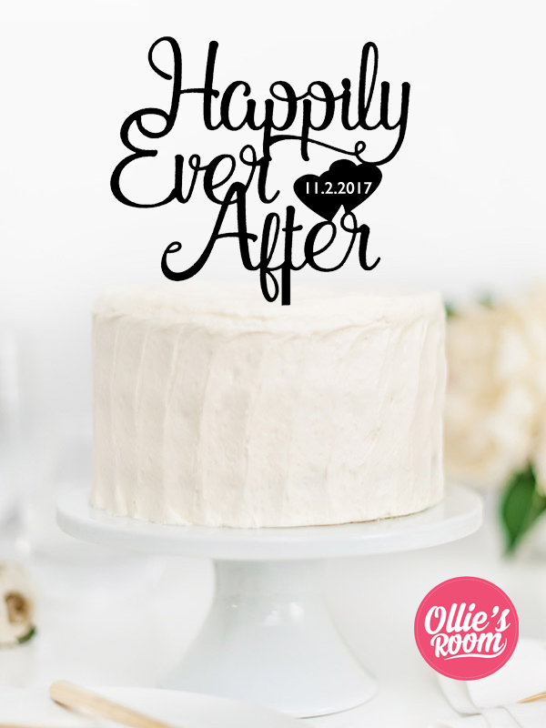 And They Lived Happily Ever After Custom Wedding Acrylic Cake Topper