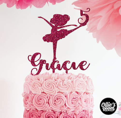 Personalised Ballerina Dancer Birthday Cake Topper With Name