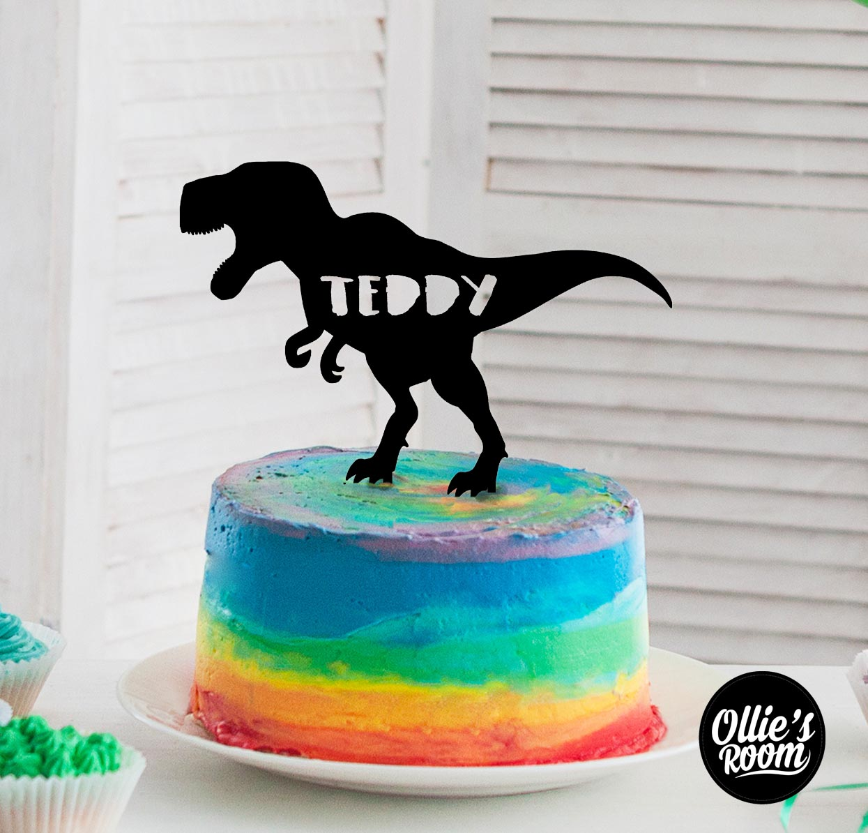 Kids Personalised T-Rex Dinosaur Name Cake Topper
