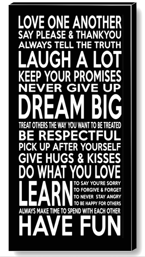 Exceptional FAMILY RULES Canvas Print. U003e