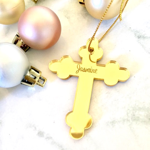 Sale Jasmine Cross Christmas Ornament Gold