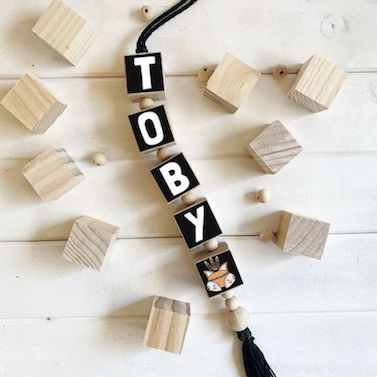 Hanging Wooden Name Blocks