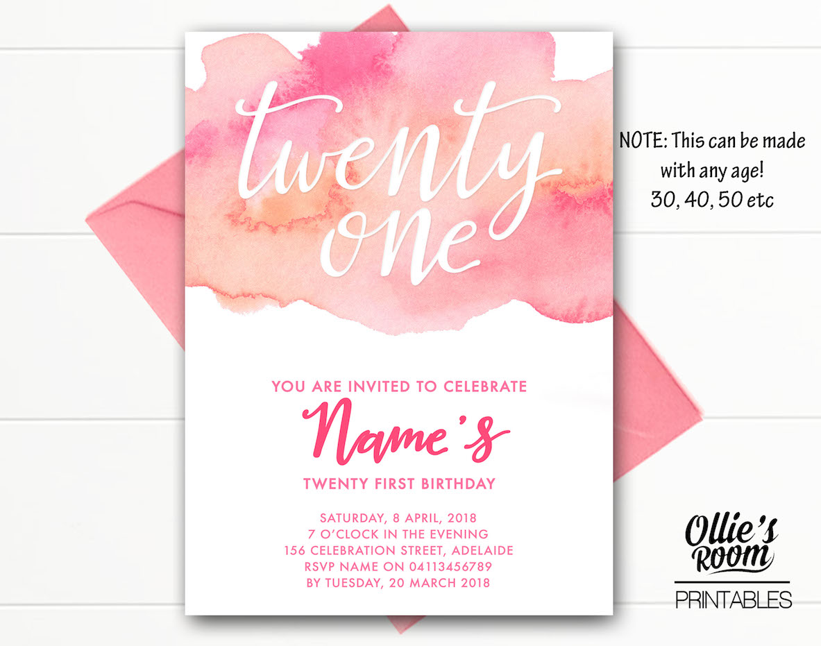 Watercolour Invitation Twenty First Birthday Printable Customised DIY Print Yourself
