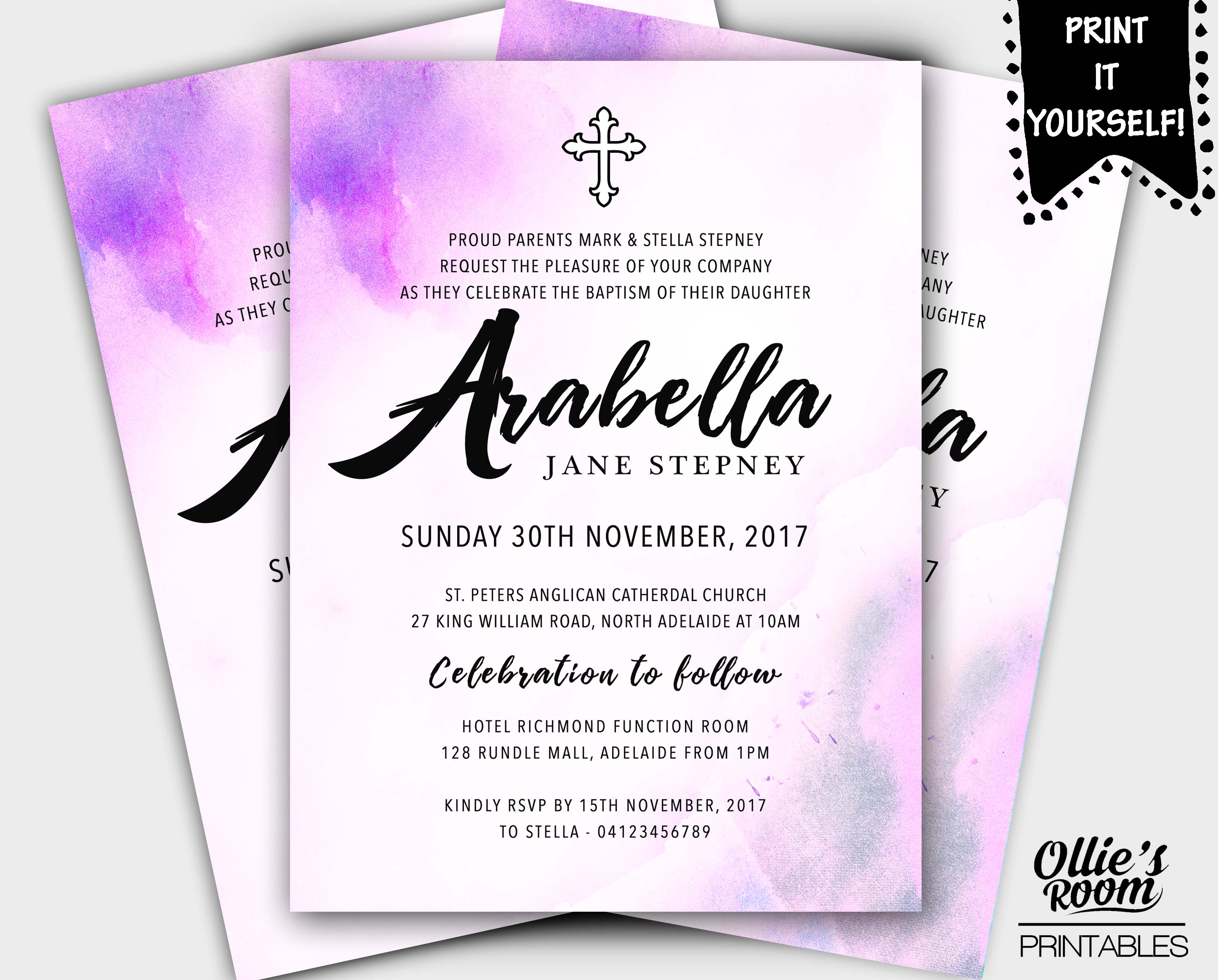 Personalised baptism christening invitation baptismprintable email a friend solutioingenieria Image collections
