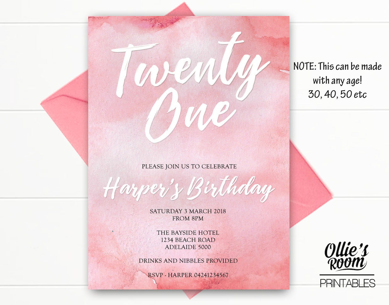 Watercolour Invitation, Twenty First Invitation, Thirty Birthday ...