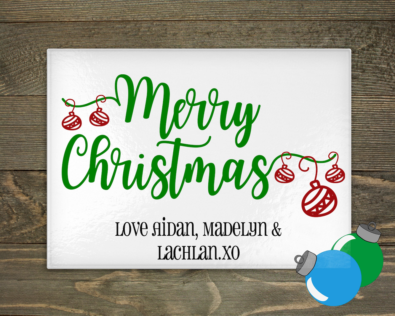 Glass Cutting Board - Merry Christmas