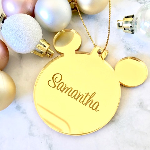 SALE - SAMANTHA  Mickey Mouse Christmas Ornament GOLD
