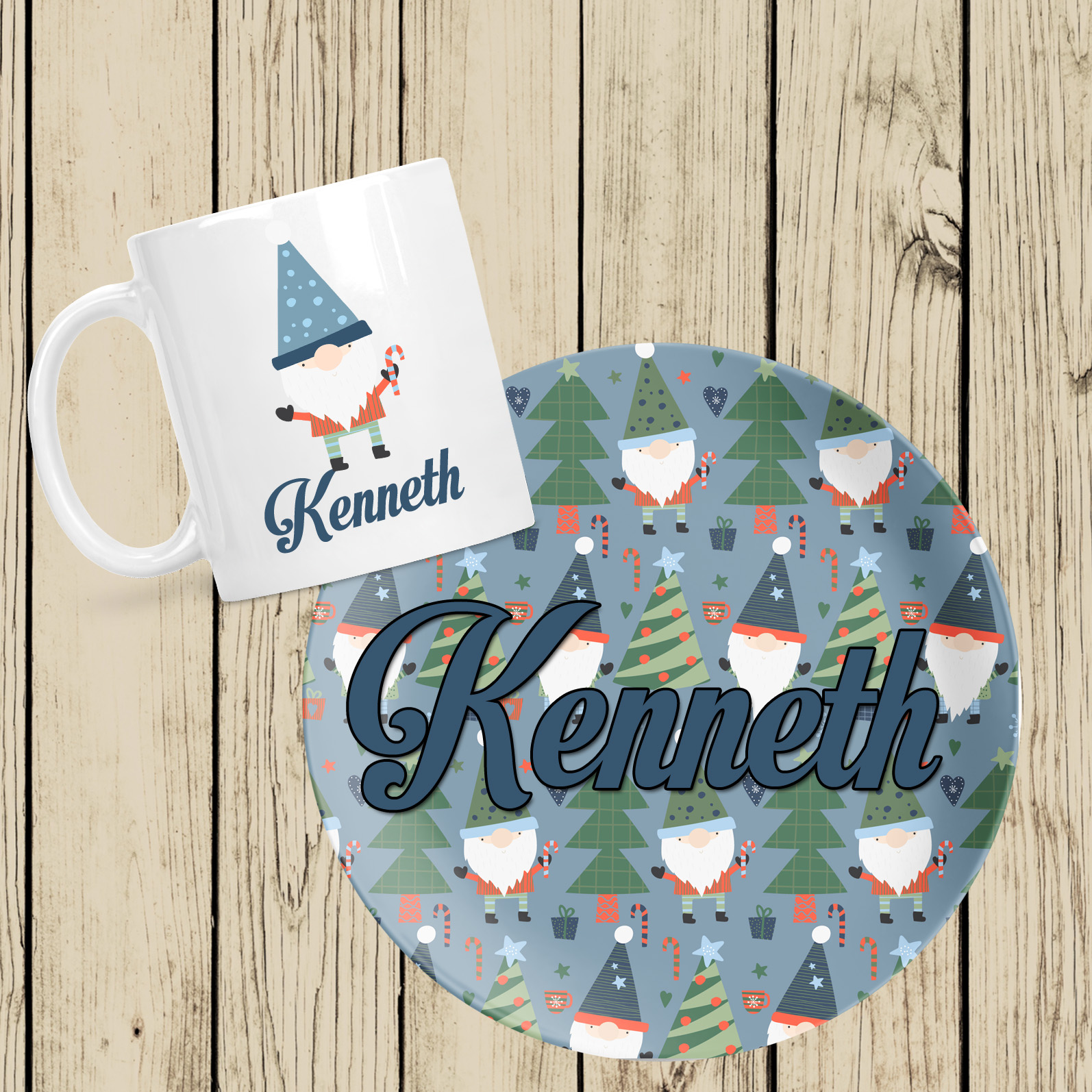 Christmas Gnome Plate and Mug Set