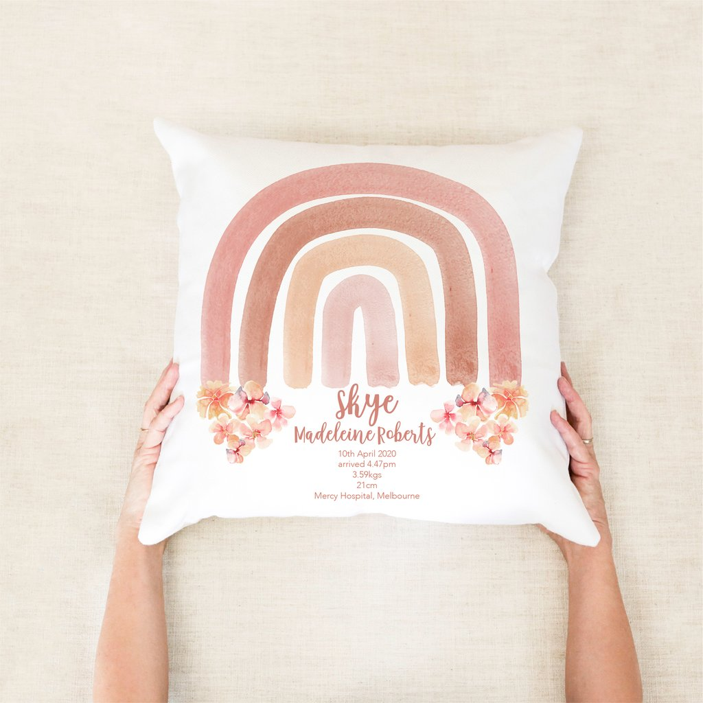 Watercolour Rainbow Birth Personalised Cushion