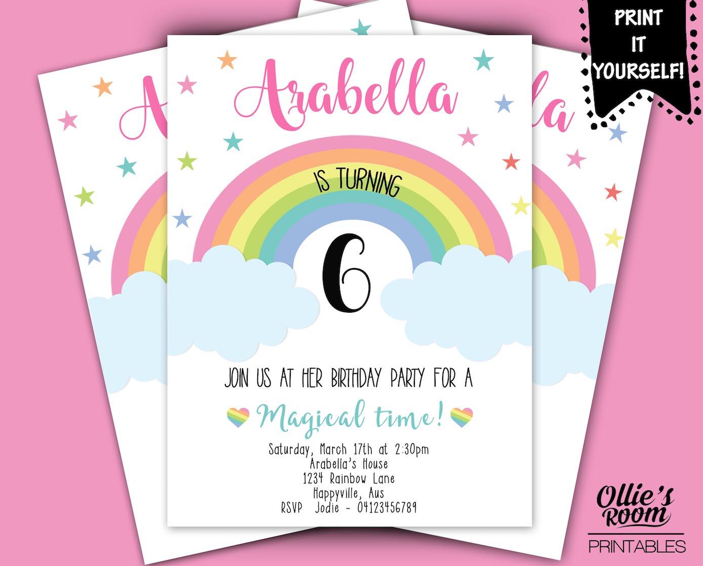 Rainbow Birthday Invitation Girls Printable Customized