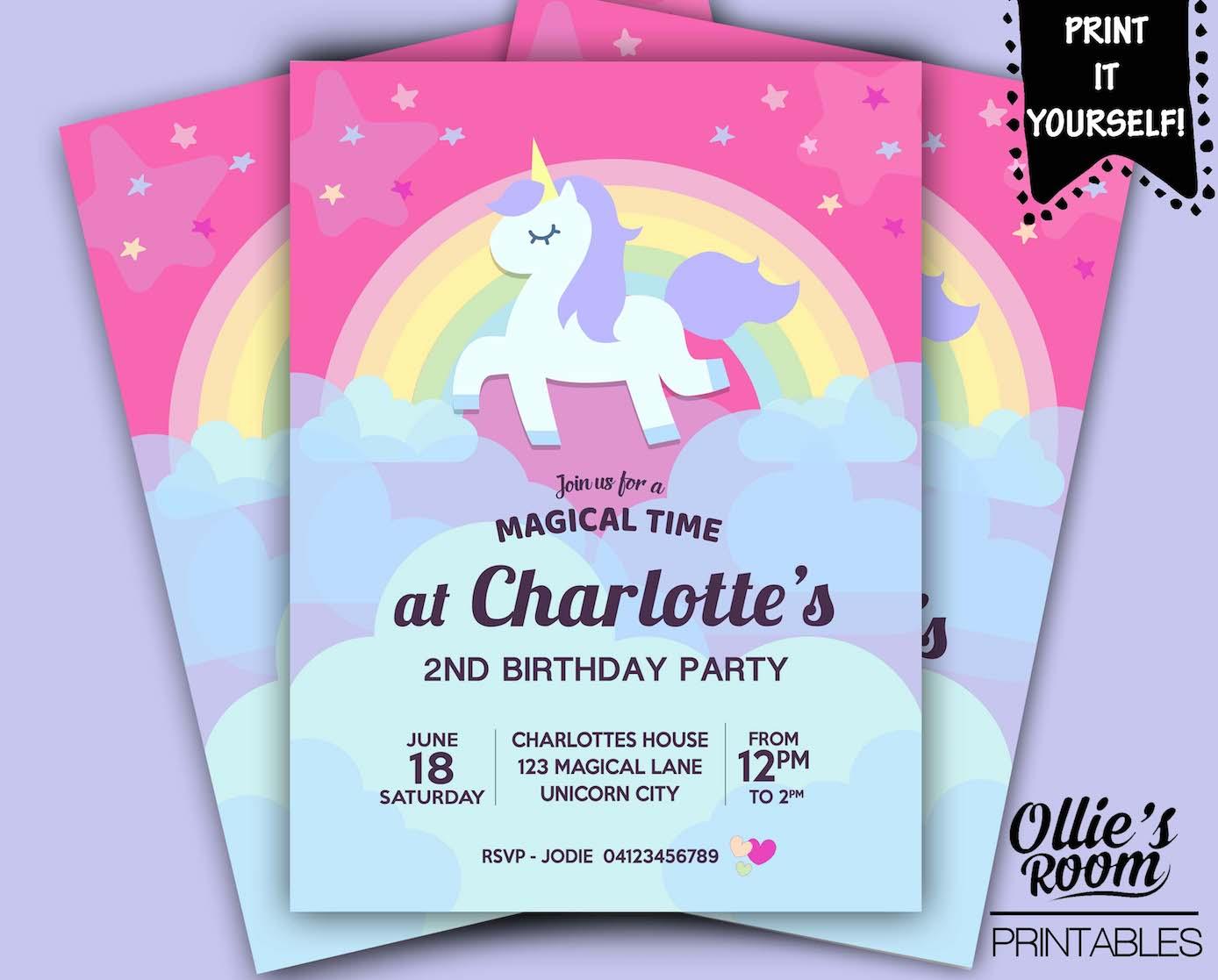 Watercolour Unicorn Invitation Printable Customized DIY