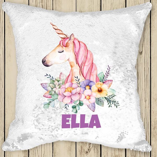 Personalised Sequinned Cushion - over 100 designs!