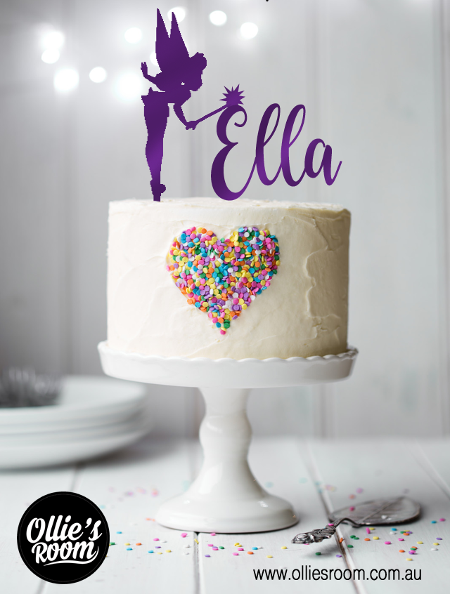 Kids Personalised Fairy Name Cake Topper