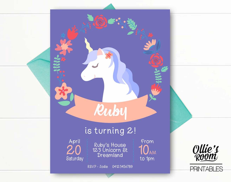Personalised Unicorn Printable Invitation Customized DIY Birthday Print Yourself