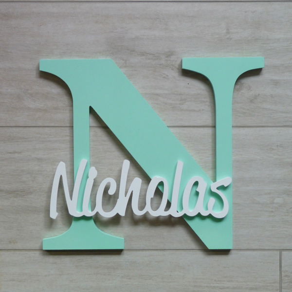 Wall Hanging Personalised Letter And Name Mint