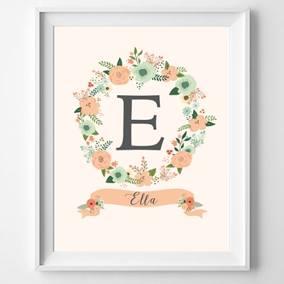 Personalised Floral Name Print (pink or peach)