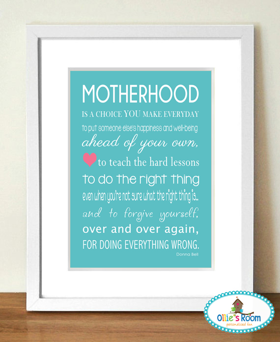 A4 MOTHERHOOD Poster Print AQUA BLUE COLOUR