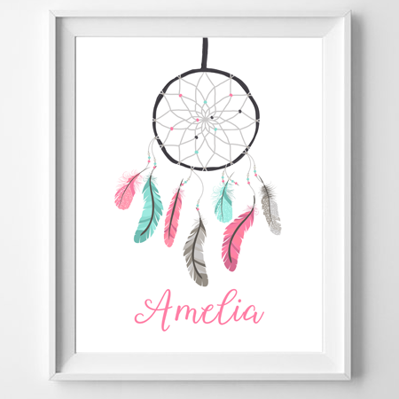 Personalised Dreamcatcher Name Poster Print Wall Personalised Classy Dream Catcher With Names