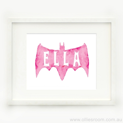 Print - Personalised Pink Bat Watercolour
