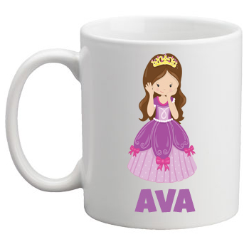 Personalised Kids Mug/Cup - Purple Princess (blonde or brunette)
