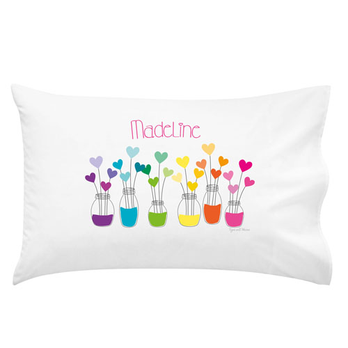 printed pillow cases. Rainbow Hearts Personalised Pillow Case Printed Cases S