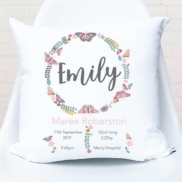 Butterfly Wreath Birth Personalised Cushion