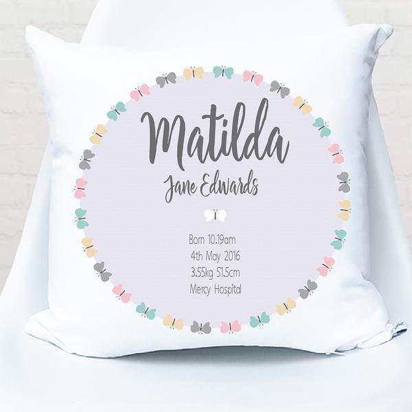 Butterfly Circle Birth Personalised Cushion