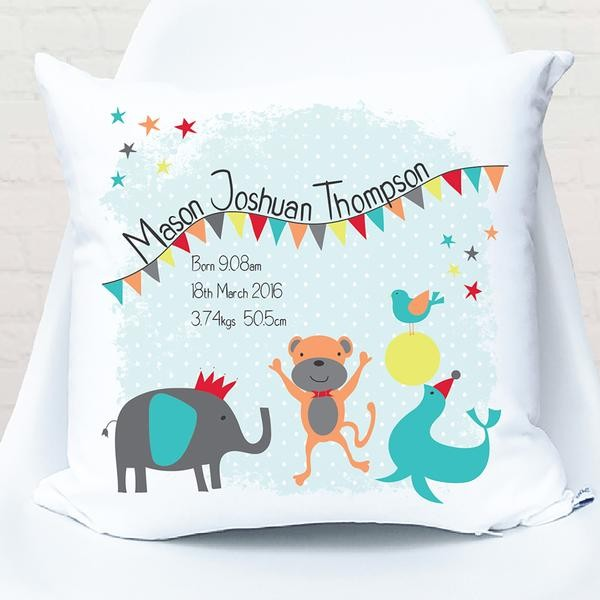 Circus Theme Birth Personalised Cushion