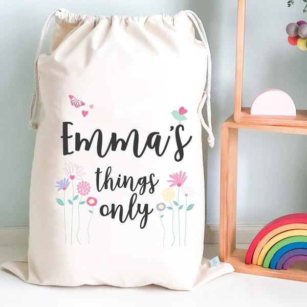 Personalised Drawstring Storage Sack - Floral Garden