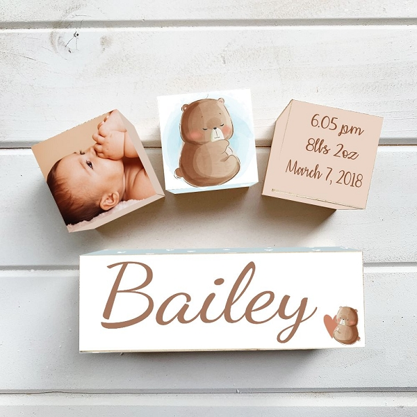 Baby Bear Wooden Birth Block Set