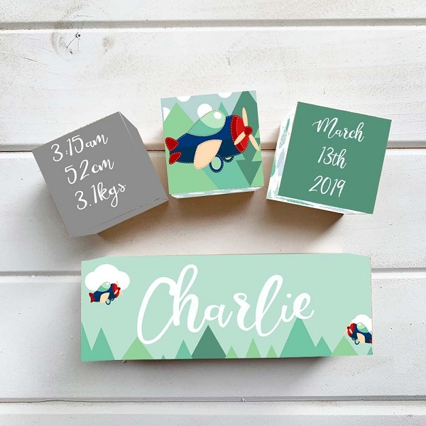 Mint Aeroplane Wooden Birth Block Set