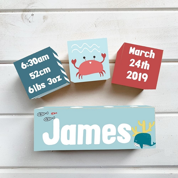 Under The Sea Wooden Birth Block Set