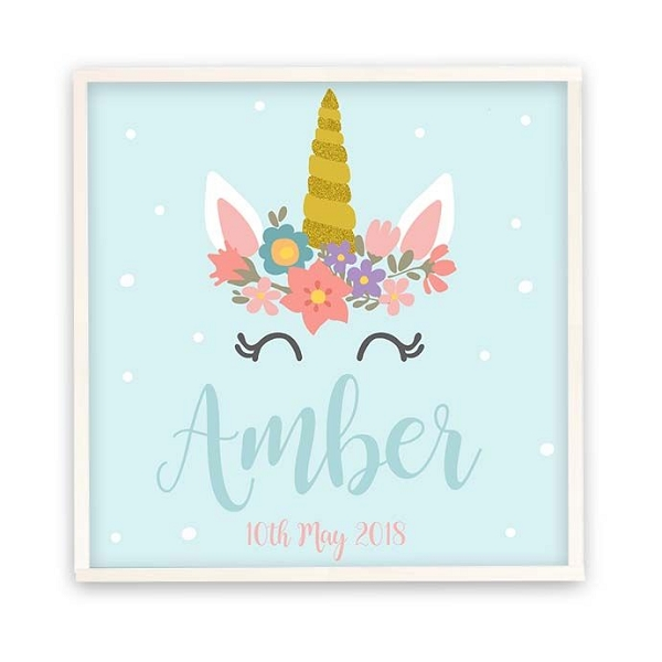 Personalised Wooden Name Plaque - Teal Unicorn
