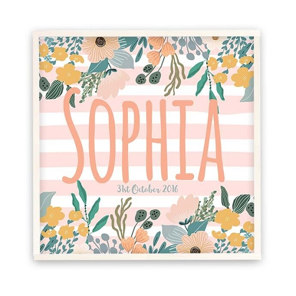 Floral Stripes Personalised Wooden Name Plaque