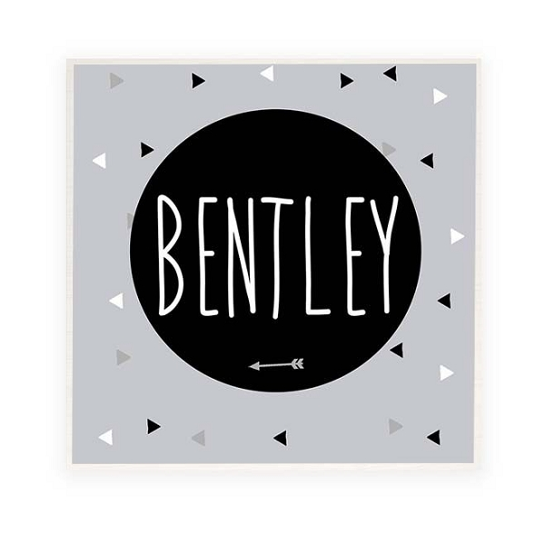 Geometric Grey Personalised Wooden Name Plaque