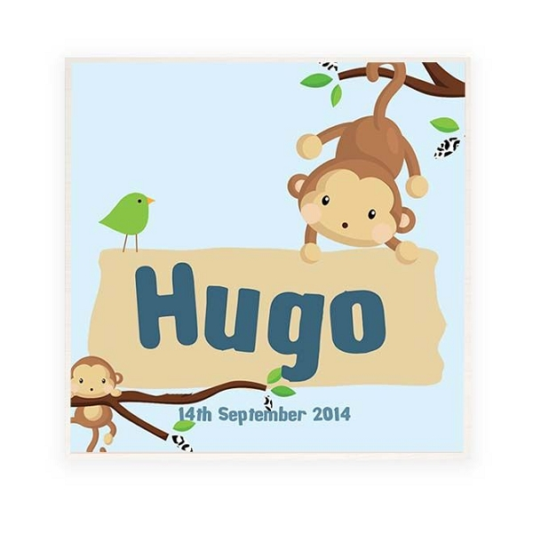 Hanging Monkey Personalised Wooden Name Plaque