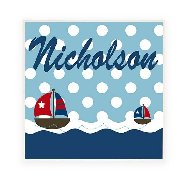 Nautical Personalised Wooden Name Plaque