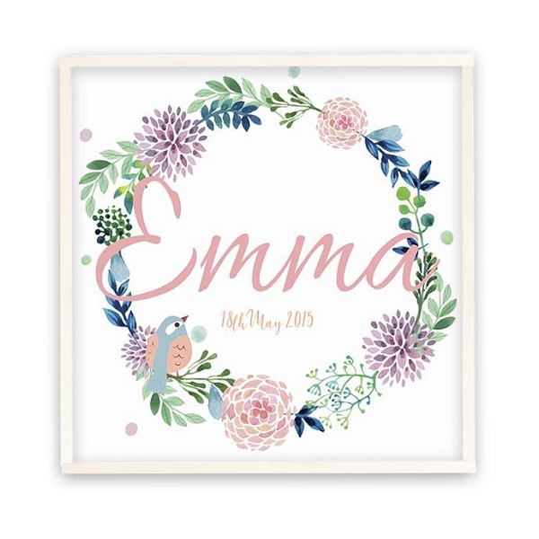 Personalised White Wreath Wooden Name Plaque